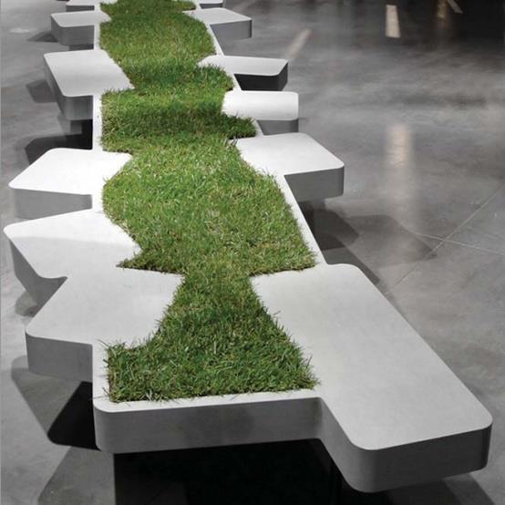 How genius is this green bench? :)  -Philippe Nigro's stone Saturnia bench for Piba Marmi's Monocromo exhibit at Italian design trade fair Abitare il Tempo.