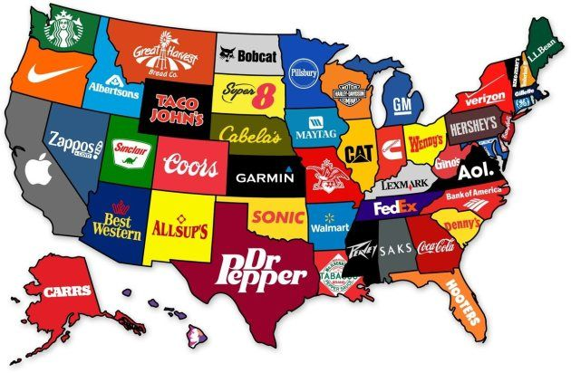 The most famous brand each state has produced. Oh Florida, haha.