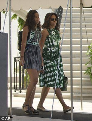 Michelle and Sasha in June 2016 (above)...