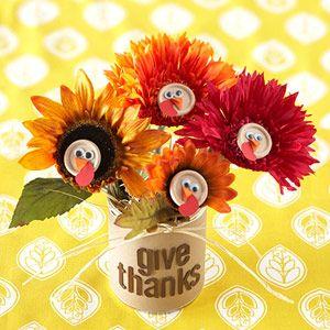Thanksgiving & Christmas Decorations Kids Can Make: Turkey Bouquet (via Parents.com)