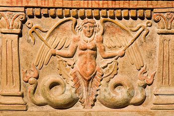 Etruscan urn. europe, italy, tuscany, siena, santa maria della scala, exhibition of etruscan art, collection of pietro bonci casuccini