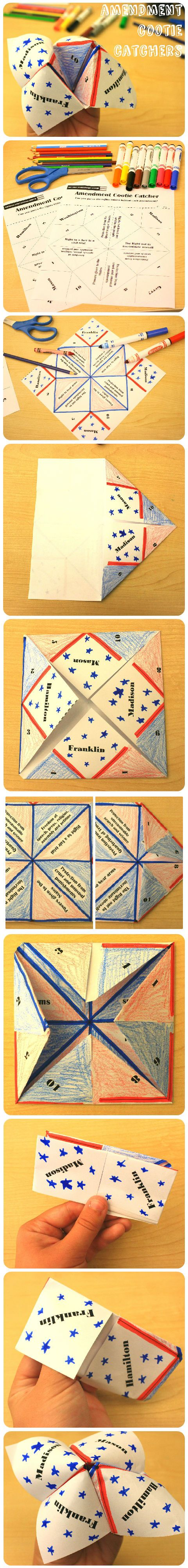 This clever twist on the classic cootie catcher tests your knowledge of the first 10 amendments. Can you guess the rights behind each amendment? #DIY #July4th