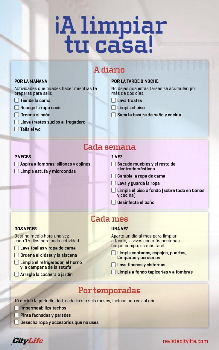 Checklist De Limpieza Limpieza Casa Aseo De Casa Calendario De