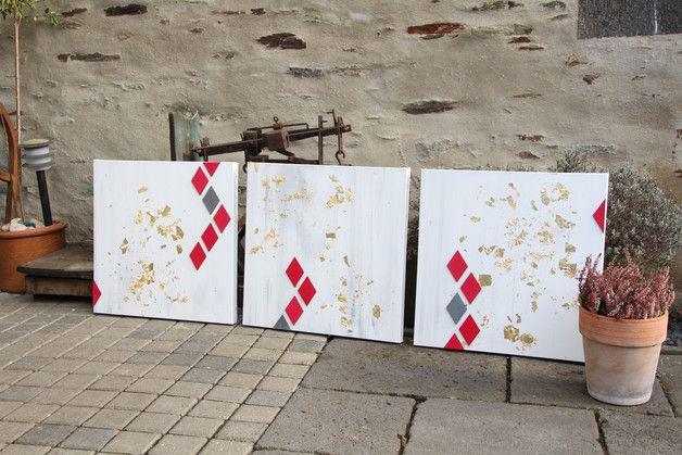 Orginal & Unikat -   Ein großes Kunstwerk zusammengesetzt aus drei extra tiefen Keilrahmen. Jeder Keilrahmen hat eine Größe von etwa 50x50cm.   Die Seitenränder sind ebenfalls bemalt. Das...
