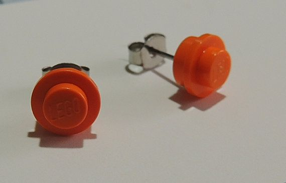 Orange Lego Studs with Surgical Steel posts by StarTideDesigns, $10.00