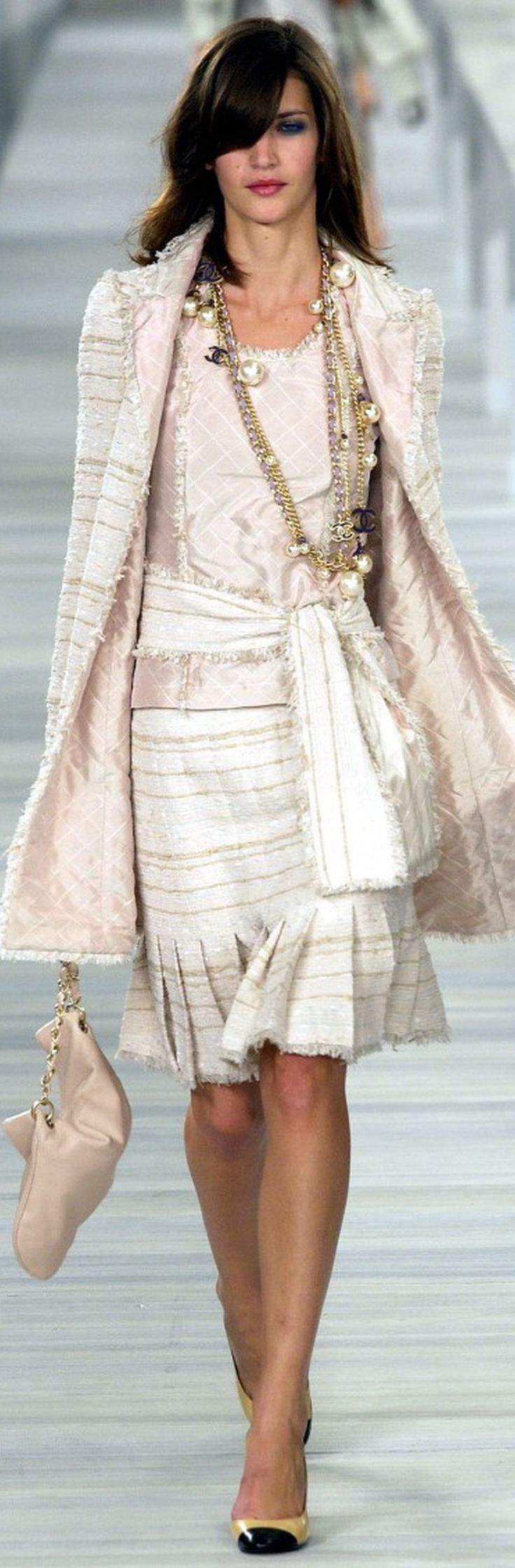 Chanel is often Youthful and Romantic, (and Classic - as in the pleats and jacket shape here) but this one has a lot of sparkle and sheen, taking it into the Angelic range. #reflectingfashion #robinality