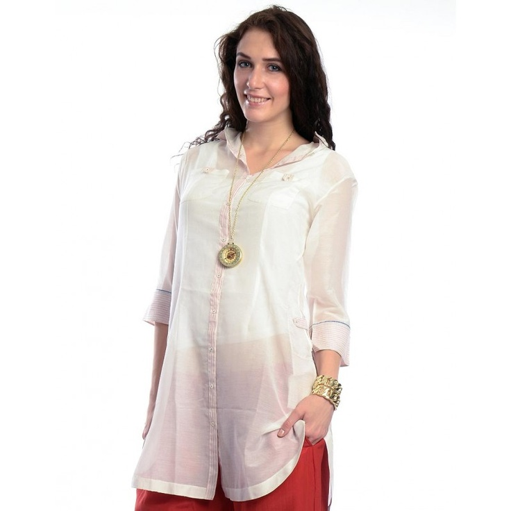 woven cottons laced white shirt tunic by Amrich # 1 front