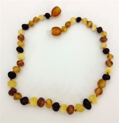 100% baltic amber    Amber is known for its natural analgesic and anti-inflamatory properties.  Amber is not a stone, but a resin fossil.    In contact with skin, it releases tiny amount of healing oils that are then absorbed into the bloodstream.  The amber beads are a natural remedy against the known side effects due to teething such as;      flushed cheeks  skin rash around mouth and neck  diaper rash  swollen gums  fever      Amber is also beneficial against allergies, nettle rash…