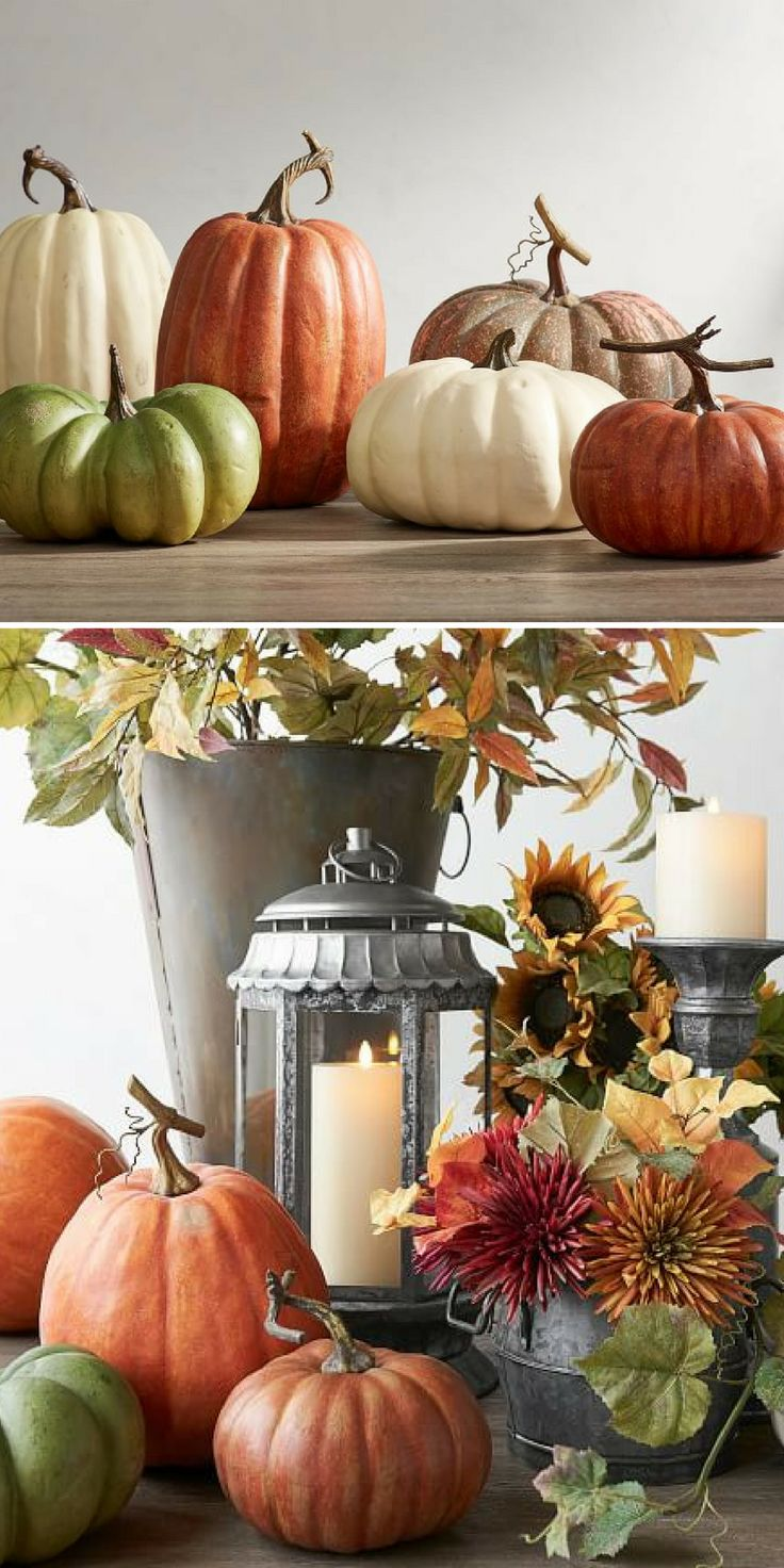 Faux Pumpkin Thanksgiving Decorations | Fall Decor Ideas | Fall Decor | Thanksgiving Table Centerpiece #fallwinter2017 #falldecor #fall #affiliate