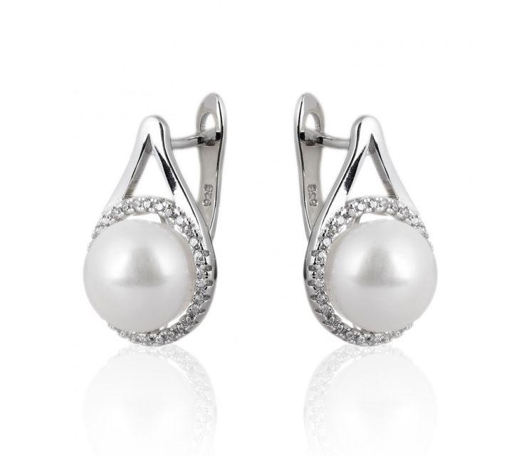 Elegantní stříbrné náušnice s perlou a zirkony