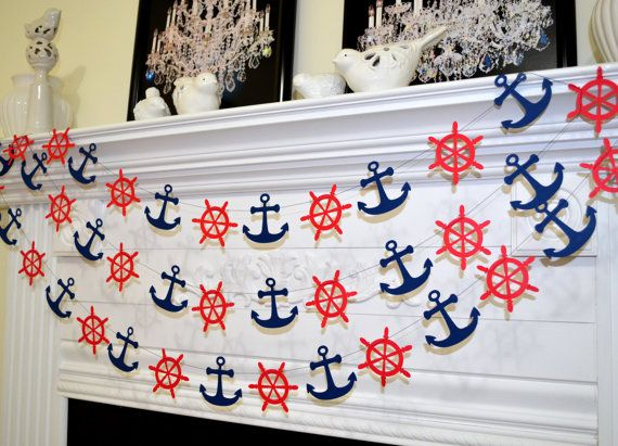 Nautical navy and red ship wheel and anchor by DCBannerDesigns