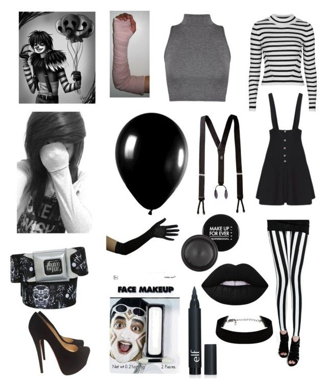 """""""Laughing Jack"""" by emo-oreo-cookie ❤ liked on Polyvore featuring Topshop, WearAll, MAKE UP FOR EVER, Lime Crime, Alexander McQueen, Christian Louboutin, women's clothing, women, female and woman"""