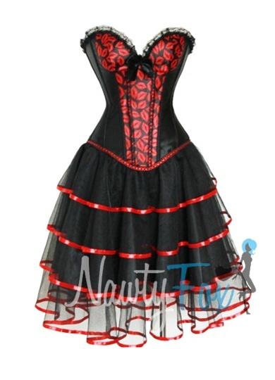 Burlesque Style Kiss Marked Corset + Skirt Set