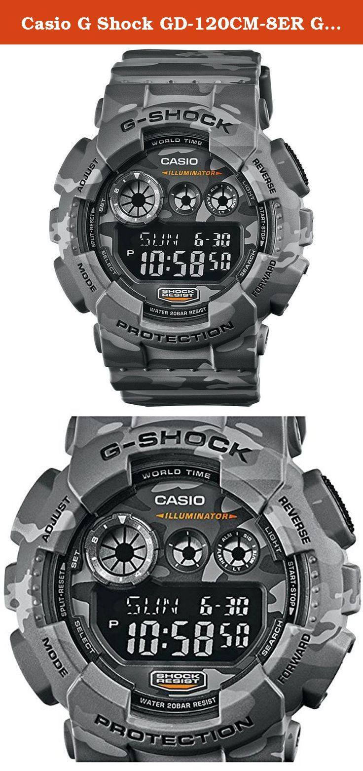 Casio G Shock GD-120CM-8ER G-Shock Uhr Watch Montre Camo Pack limited Edition. Perfect for staying active this watch by Casio offers a crisp digital dial with a chronograph alarm timer stop-watch and shock resistance The light features in the dial allows you to tell time even in low-light conditions while a durable mineral crystal window offers protection from scratches and nicks The strong grey and black camouflage band presents a cool yet rugged look The watch is equipped with reliable...