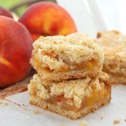 Dangerously addicting Sweet Peach Crumb Bars. A wonderful summer treat.