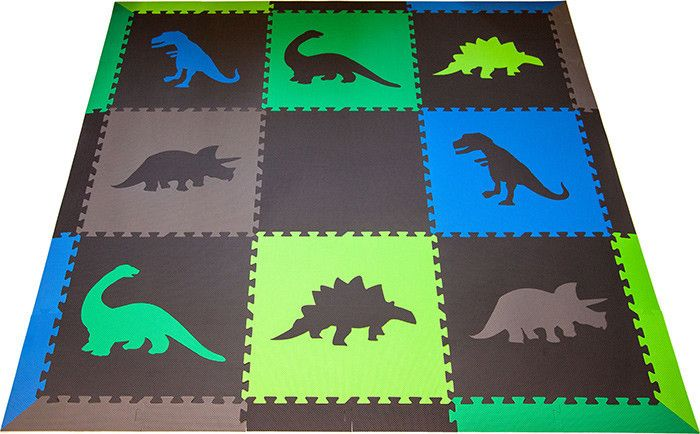 This is a fun color combination that's perfect for a boy's playroom or nursery. SoftTiles Dinosaur Children's Play Mat Set with Borders Black, Blue, Lime, Green, Gray
