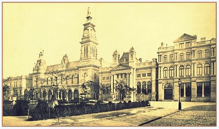 A very view of the early Municipal Buildings, Lord Street, including Cambridge Hall (now The Atkinson)