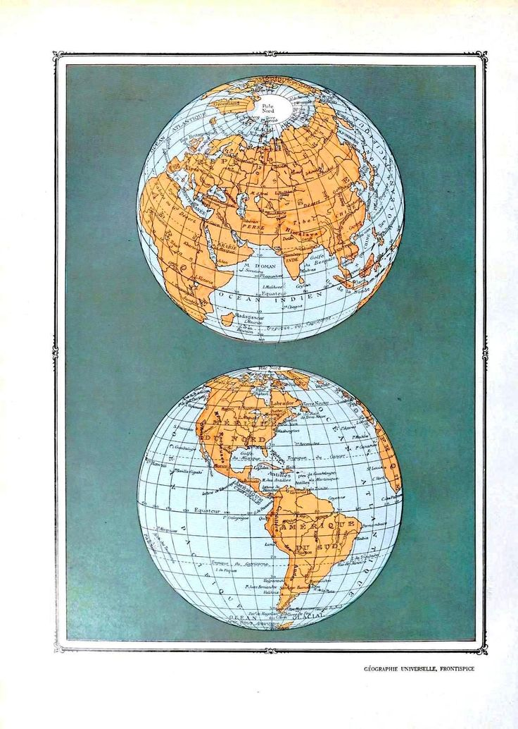 Geopolitical - Map - World - Hemispheres, two views