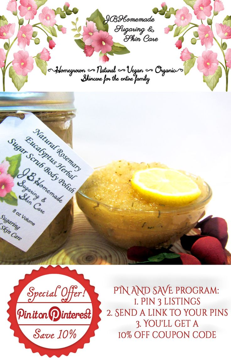 Natural Rosemary Eucalyptus Herbal Sugar Scrub Body Polish♥ Moisturizing  ♥ Leaves skin soft and smooth ♥ Nice, fresh, minty, pine scent ♥ Smells Amazing with the light citrus aroma ♥ Gently removes old dry skin ♥ Improves circulation ♥ Soft, glowing, moist, healthy bright skin  $12.99 Get it here http://etsy.me/2etJB4i PIN & SAVE:  1. Pin 3 listings 2. Send a link to your pins 3. Get 10% off #JBHomemade #natural #organic #skincare #scrubs #eucalyptus #rosemary