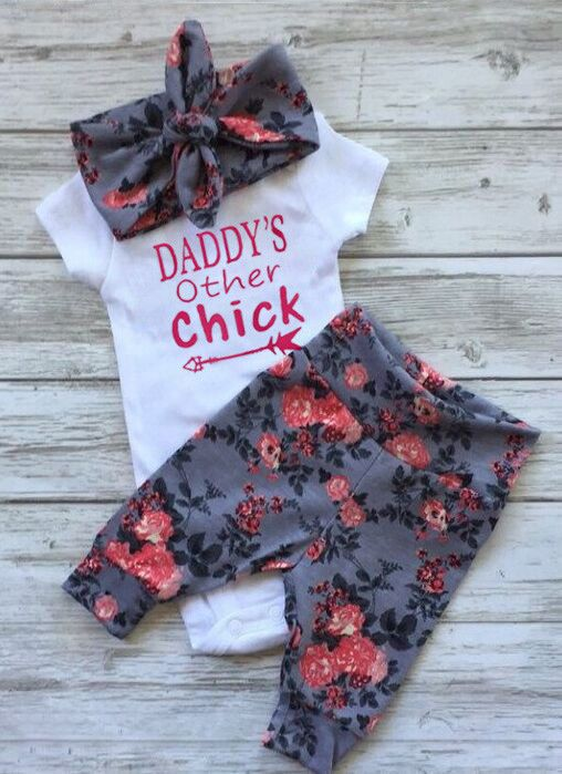 US Seller Newborn Baby Girls Top Romper Bodysuit Pants Floral Outfit Clothes Set  | eBay