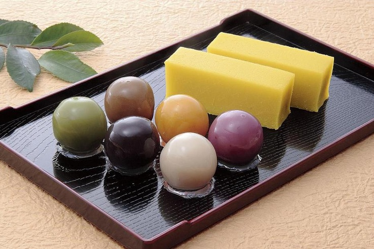 a bar of japanese sweets potato paste and red beans balls. by Funawa asakusa