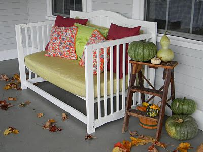 Outdoor love seat out of an old crib. Just shorten the height of the crib (but not the seat) and you're good to go! - Nessa