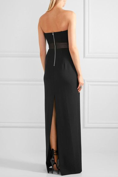 Elizabeth and James - Nicole Strapless Mesh-paneled Crepe Maxi Dress - Black - US