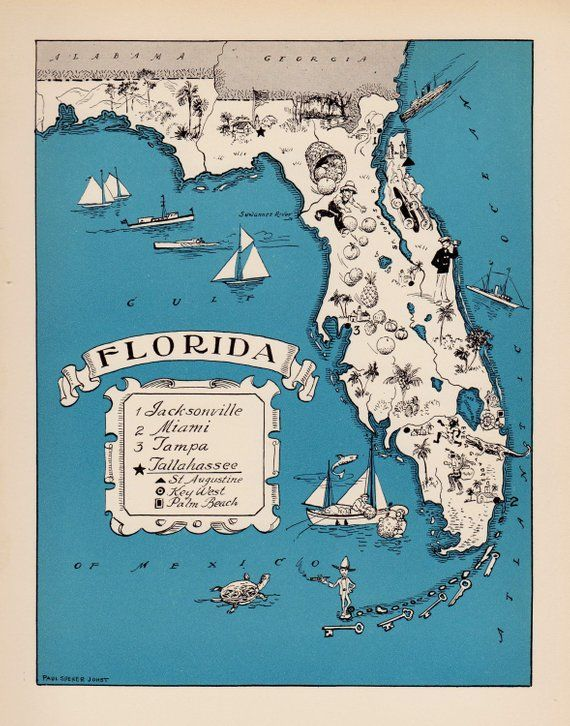 30\'s Vintage Animated FLORIDA State Map of Florida Cartoon ...