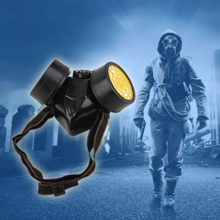 Negro Máscara De Gas Seguridad Supervivencia de Emergencia Respiratoria Máscara Anti Polvo de la Pintura Del Respirador Máscara De Gas con 2 Doble Filtro de Protección