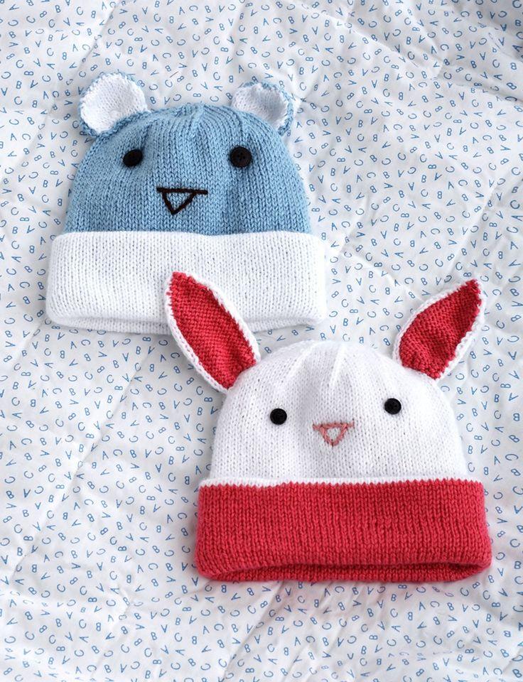 Dolls Free Knitting Patterns : Yarnspirations.com - Bernat Knit Hats with Ears - Patterns Yarnspirations ...