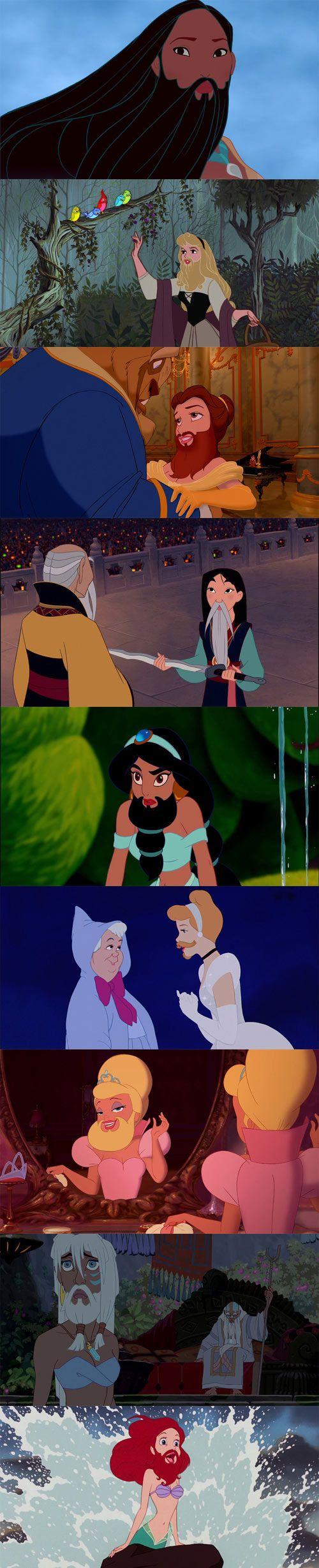 Personajes femeninos de Disney con barba.