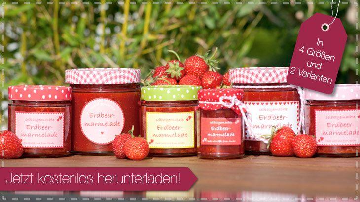Etiketten Erdbeermarmelade kostenlos herunterladen