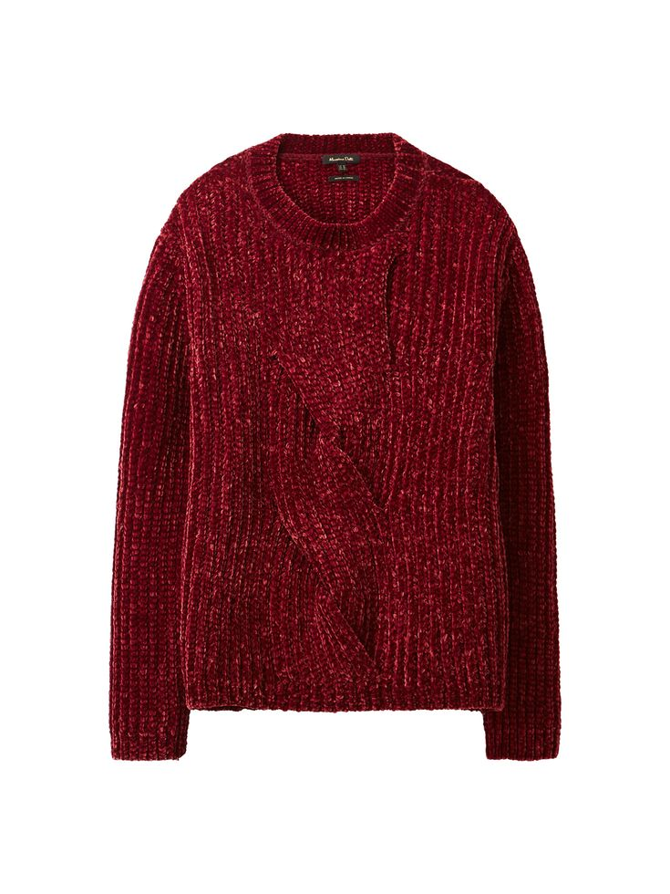 Chenille sweater with cable-knit detailing. Features a straight fit, stand-up collar and long sleeves.