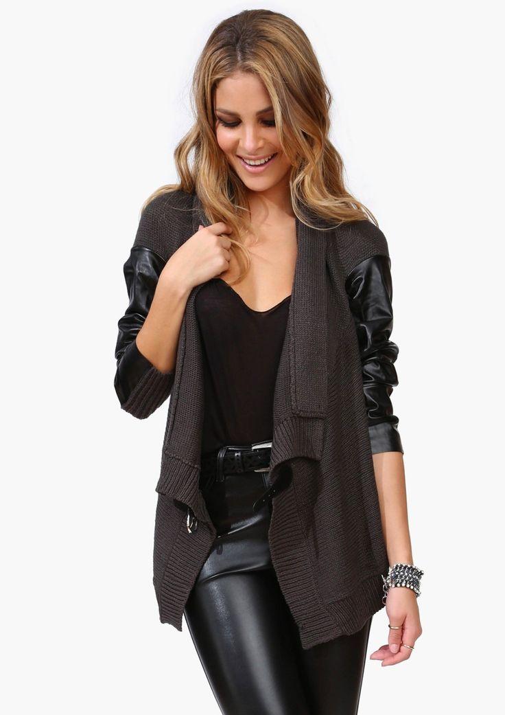 Leather Knit Cardigan