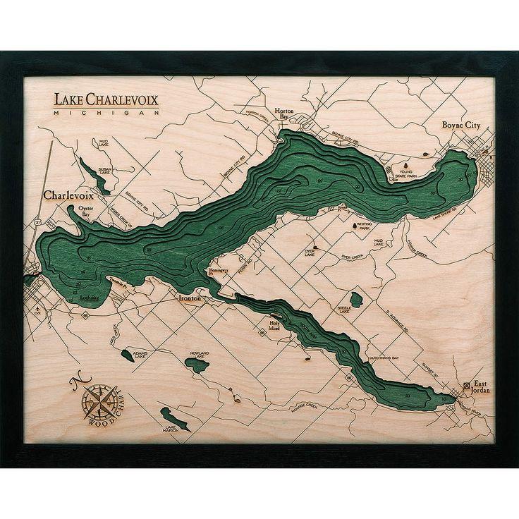 lake charlevoix mi wood map 3d carved