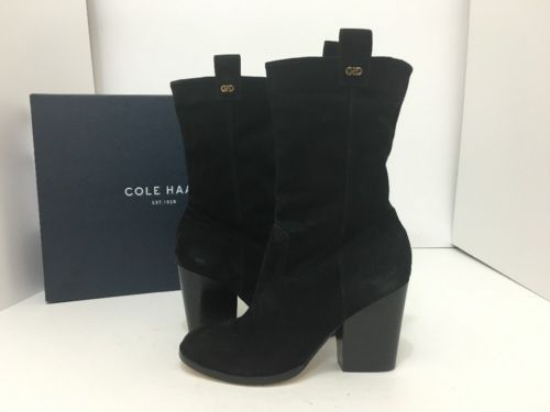 Cole Haan Nightingale Bootie Black Suede Women's Short Pull On Boots Size 5.5 M