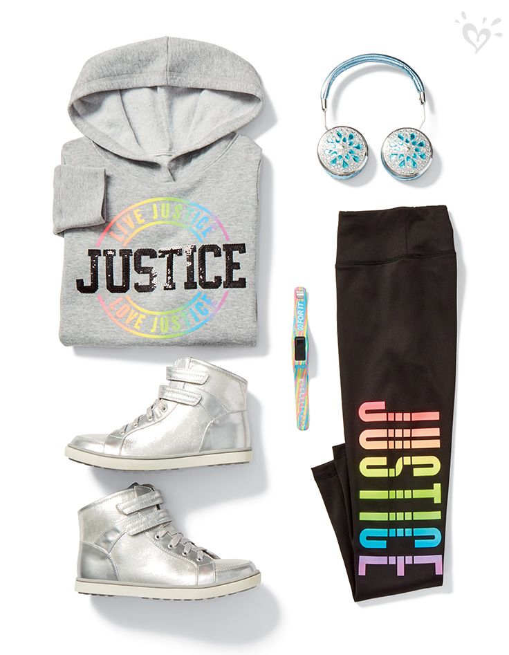 Brighten up your wardrobe with Justice graphics and shiny sneakers!