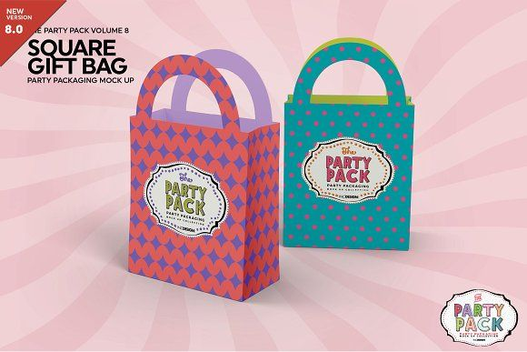 Download Party Square Gift Bag Pack Mockup Bag Mockup Paper Gift Bags Party Packs