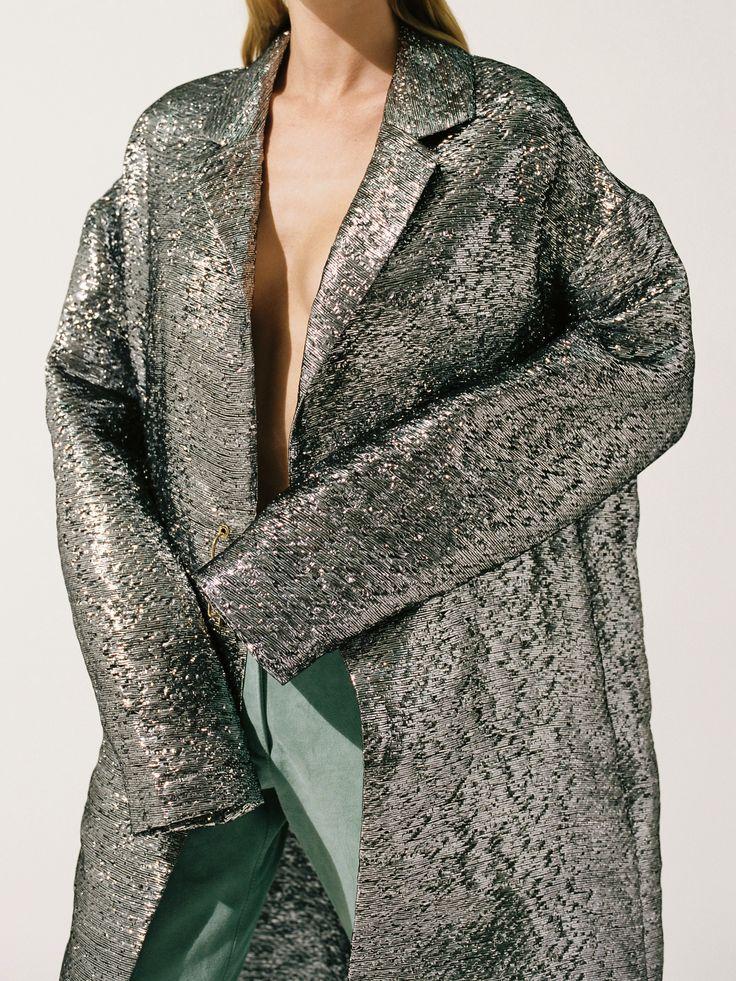 Metallic silver silk blend coat by Juslin Maunula Photo Osma Harvilahti