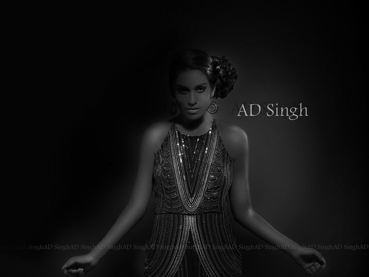 AD SINGH Couture & Red Carpet black dress with intricate beading and soft dreamy trail & sexy back. For more info email: info@adsingh.com www.adsingh.com