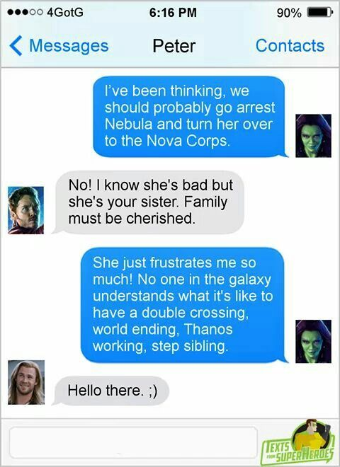 Ha, been saying this for ages. Gamora and Nebula are just Thor and Loki. Would love a scene with Nebula and Loki in IW...