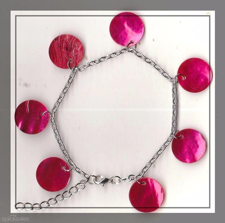 Pink MOP Shell Bead Silver Tone Bracelet(20cm) by MadAboutIncense - $7.50