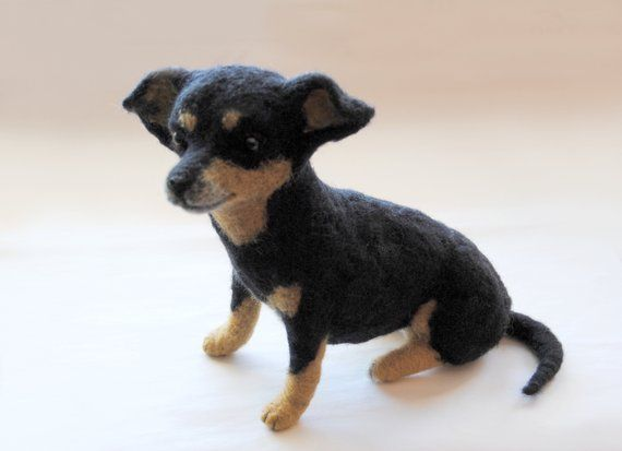 Chiweenie Needle Felted Dog Made By Willane Needlefelteing
