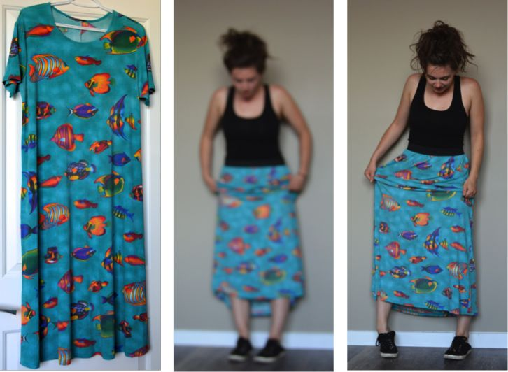 DIY Sewing tacky fish dress to comfy maxi skirt with wide elastic