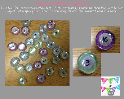 Pebble magnets with student numbers and other classroom management tips