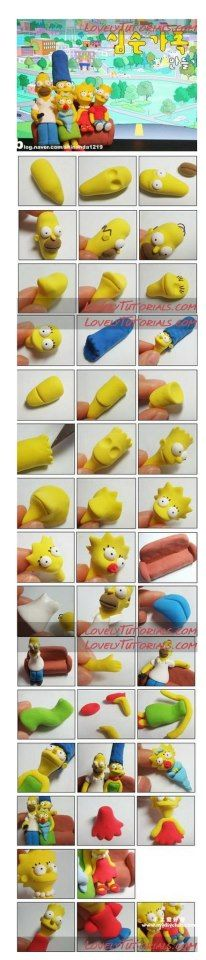 how to mold sculpt The Simpsons! This can be used for lots of things, fondant for cake decorating, fimo for jewelry... anything that can be molded!!! WOW