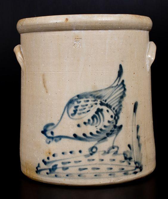 Five-Gallon Stoneware Crock w/ Chicken Pecking Corn Decoration, attrib. Brady & Ryan, Ellenville, NY