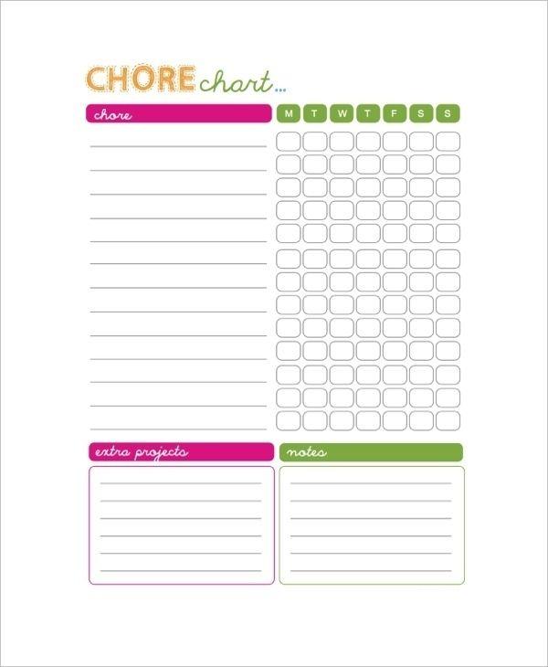 Blank Chore Chart Pdf Chore Chart Template Chore Chart Kids