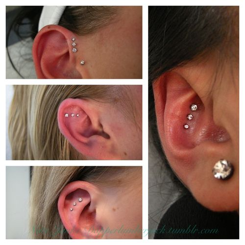 piercing placement ideas: like the top left picture and the long right one