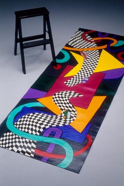 Hand Painted Floor Cloth......could use an old yoga mat